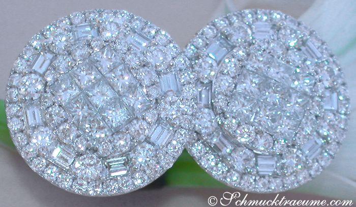 Noble Brillanten Ohrstecker mit Princess & Baguette Diamanten » Juwelier Schmucktraeume.com