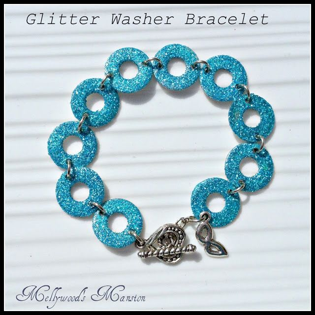 : Glitter Washer Bracelet, a really cute cheap gift or something to do with young ladies