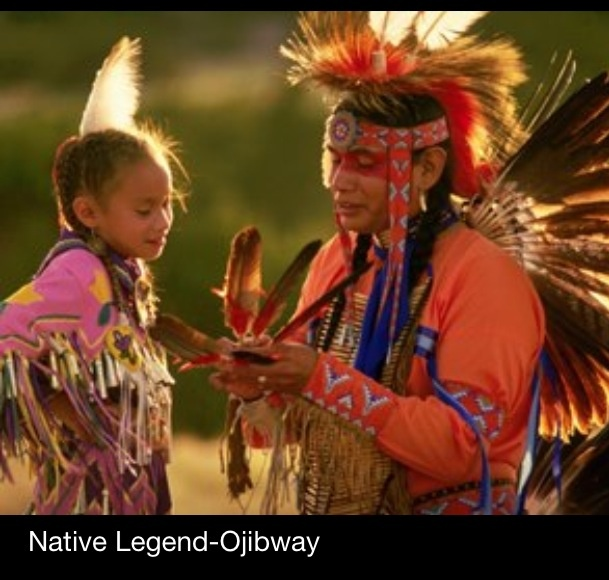 """Native Legend-Ojibway  This story was passed on from generation in the Ojibway Nation and it came as a vision. An elderly man had a daughter who was very sick. He prayed and offered tobacco to his creator for his daughter to get well. A vision came to him to make his daughter a dress (a jingle dress) made of jingles.She was to wear this dress to make her well. In the Ojibway Tribe from the Lake of the Woods area this is called """"Odiizeoon"""". That means it is something given through a vision…"""