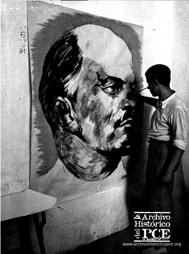 Retrato de Lenin realizado por Sarralde en la sede del Comisariado de Propaganda del III Cuerpo del Ejército, Archivo Fotográfico Guerra Civil (1936-1939)