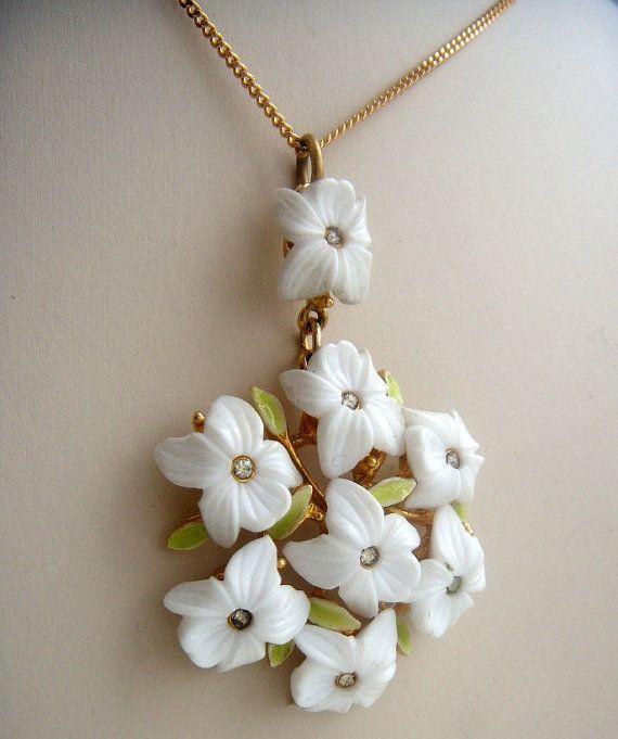Snowdrops designer necklace Art vintage от ODMIVINTAGE на Etsy