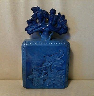 Cobalt-Nouveau-Deco-Ninfa-Decada-De-1930-Figural-Vidro-Frasco-De-Perfume-checa-como-esta