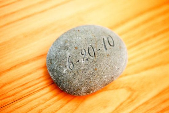"""Irish wedding tradition: Celtic Oathing Stone    Incorporate a Celtic oathing stone (with your wedding date engraved on it) in your ceremony. This Celtic tradition involves holding a river stone while you say your vows so that they will be """"set in stone."""""""