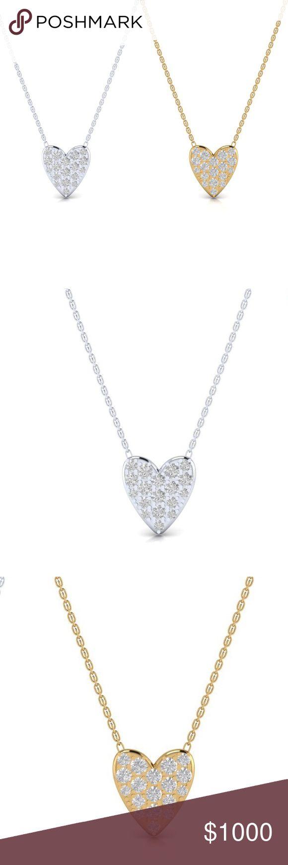 💛✨💎Pavé diamond heart necklaces Diamond heart necklaces! By Kate Alexandra Jewelry (Private Jeweler!) available in 14k, 18k gold + diamonds web: Kate - Alexandra . com 💛✨ kate alexandra jewelry Jewelry Necklaces