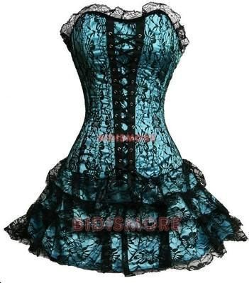 I found 'Strapless Lace Black And Blue Rose Gothic Victorian Corset Dress' on Wish, check it out!