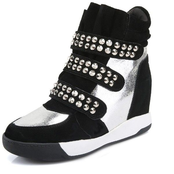 Women's High Top Velcro Womens Hidden Wedge Sneaker Shoes with Rivet ($46) ❤ liked on Polyvore featuring shoes, sneakers, wide width wedge sneakers, wedge sneaker, wedged sneakers, wide shoes and velcro shoes