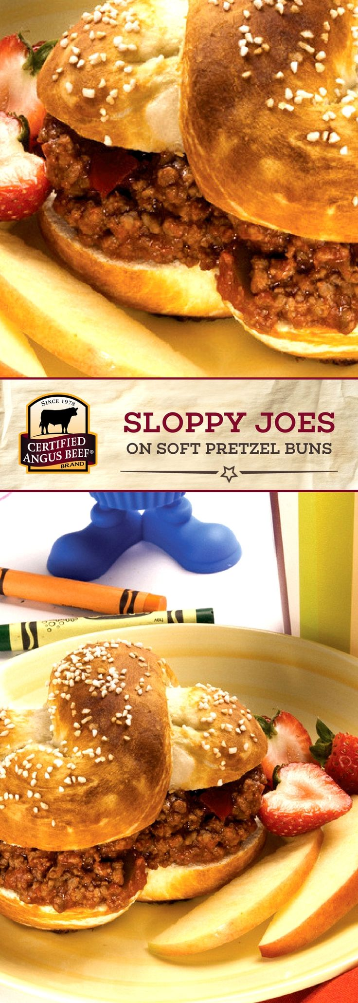 Certified Angus Beef®️ brand Sloppy Joes on Soft Pretzel Buns are so DELICIOUS! This sloppy joe recipe is PACKED with flavor from the best ground chuck and seasoning mix, and uses HOMEMADE pretzel buns!  #bestangusbeef #certifiedangusbeef #beefrecipe #easyrecipes #kidsrecipes