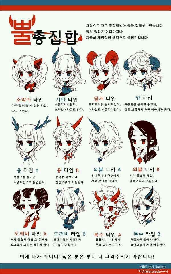 How to draw different kind of horns on female heads - drawing reference - how to draw manga