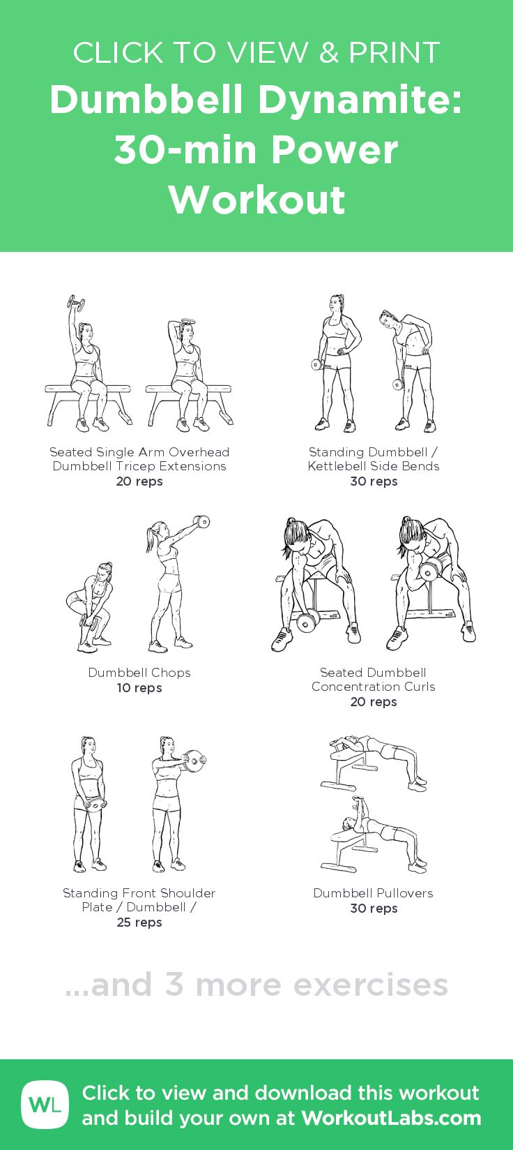 Dumbbell Dynamite: 30-min Power Workout – click to view and print this illustrated exercise plan created with #WorkoutLabsFit