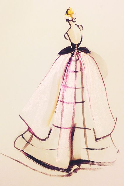 What Your Favorite Met Dresses Look Like As Art #refinery29  http://www.refinery29.com/2014/05/67482/met-gala-sketches#slide4  On this show-stopping dress, the windowpane print is everything.