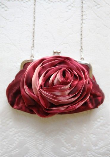 Rosewood Evening Clutch In Ruby