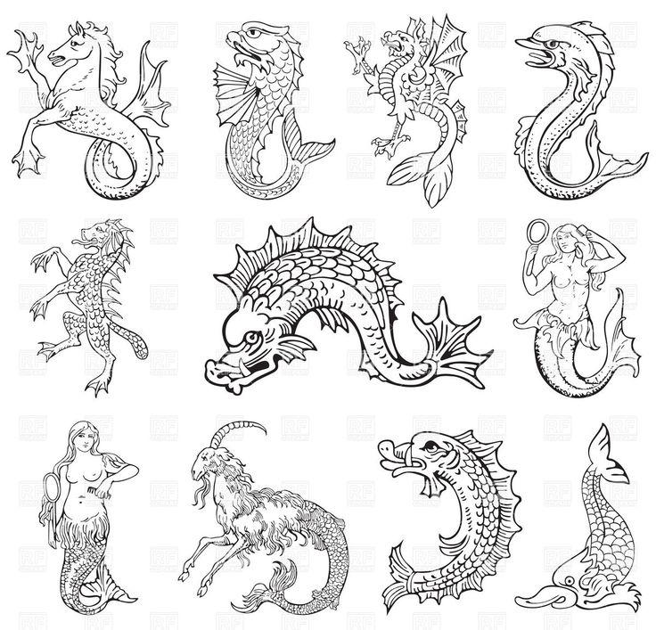 antique sea monsters -...