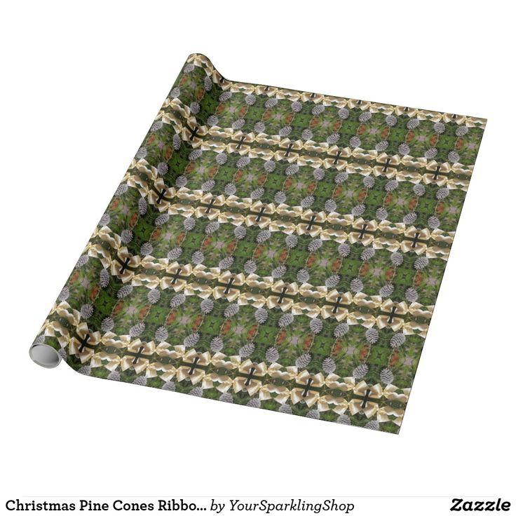 Christmas Pine Cones Ribbon Kaleidoscopic Pattern