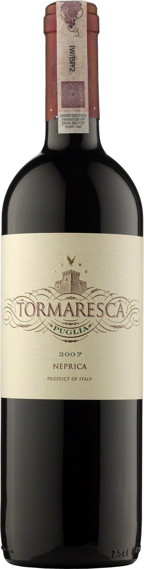 Tormaresca Neprica Puglia I.G.T. Tormaresca rosso jest wytwarzana głównie z odmiany winogron negroamaro, których winifikacja przebiegała w kadziach ze stali nierdzewnej, w kontrolowanej temperaturze. Efektem jest lekkie wino o pięknym, rubinowym kolorze oraz owocowym, lekko przyprawowym bukiecie. W smaku lekko taniczne i świeże, bardzo uniwersalne, do podania z wieloma różnymi daniami. #Tormaresca #Neprica #Puglia #Wino #Wlochy #Negroamaro #CabernetSauvignon #Primitivo