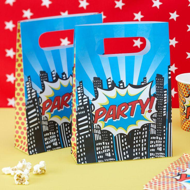 Pochette cadeaux invit s anniversaire super h ros party - Kit anniversaire super heros ...