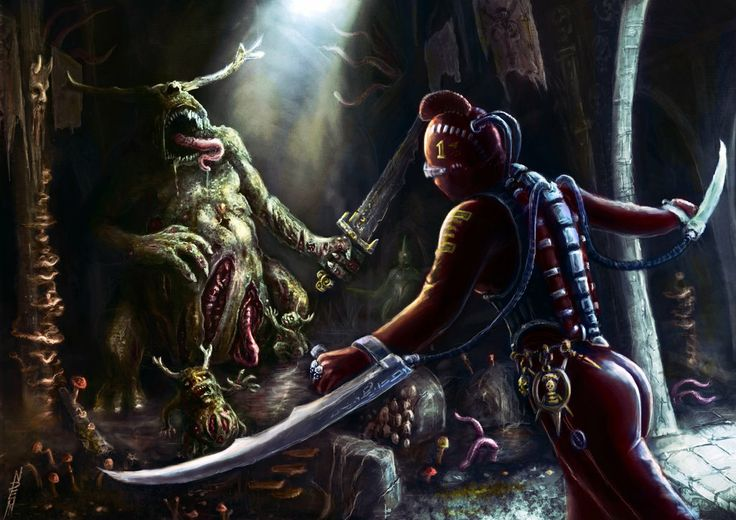 slaaneshi-party-bus:  A Callidus assassin vs nurgle daemon. By Nick Herbert.