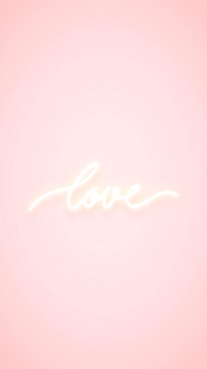 Download Premium Vector Of Love Neon Word On Pink Background Vector 2094005 Pink Background Neon Words Cute Pink Background