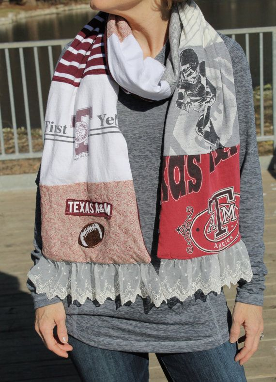 Great idea for favorite t-shirts!! Texas A&M Scarf by LillyKelleyCreations on Etsy