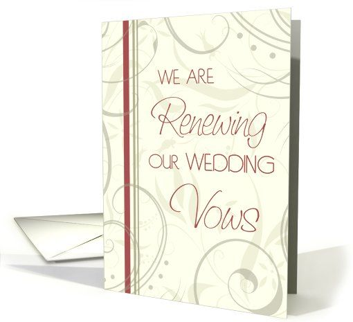 Beige and Red Floral Wedding Vow Renewal Ceremony Invitation Card