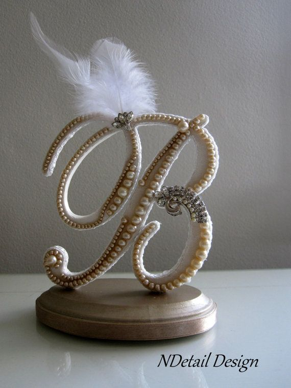 Cake Topper: Monogram Ivory Pearl, White Feather and Rhinestone Brooch Letter B for Gatsby or Vintage Wedding