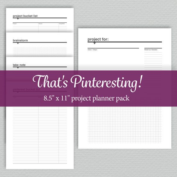 Project Planner Pack   Printable  Standard Letter by sassyplanners