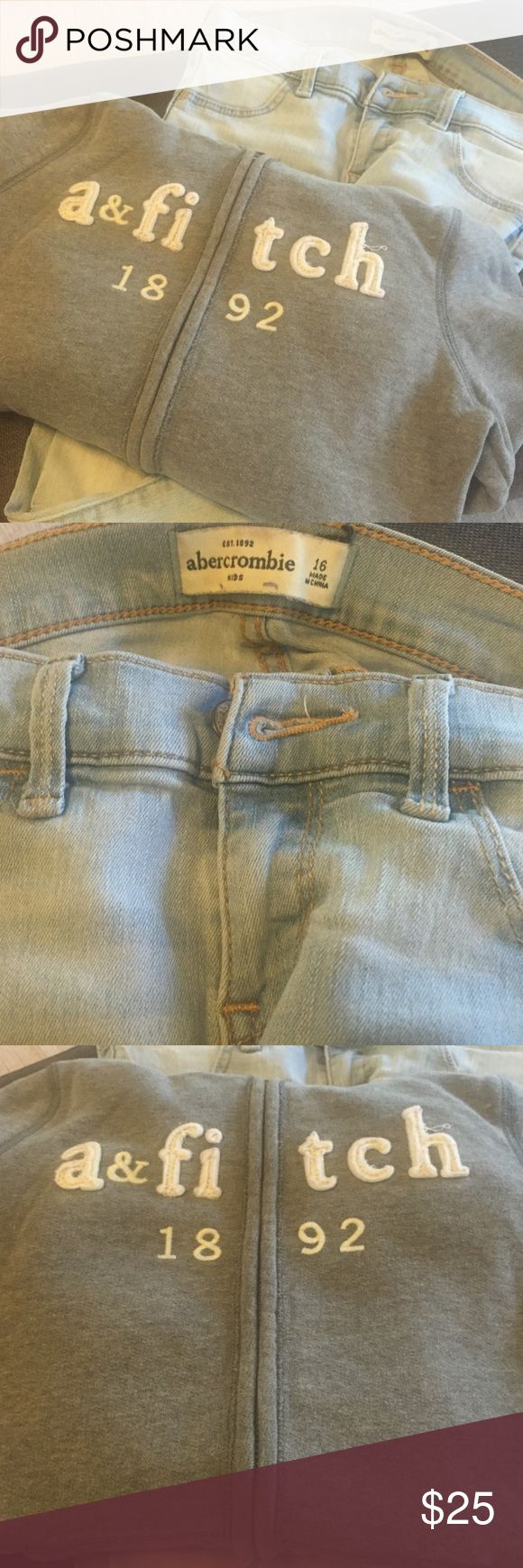 Abercrombie Kids outfit Good condition 16 slim light jeans and Gray sweatshirt. abercrombie kids Matching Sets