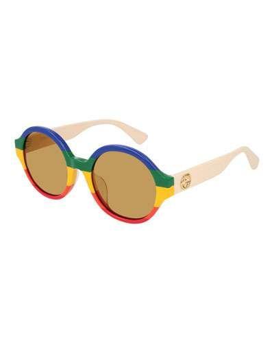 44b59081e Gucci Rainbow Striped Round Sunglasses in 2019 | Products ...