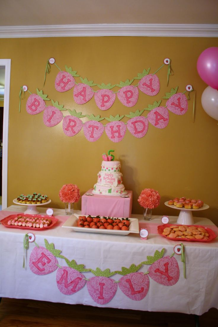 1000 ideas about birthday banners on pinterest gold birthday gold birthday party and baby - Strawberry themed kitchen decor ...