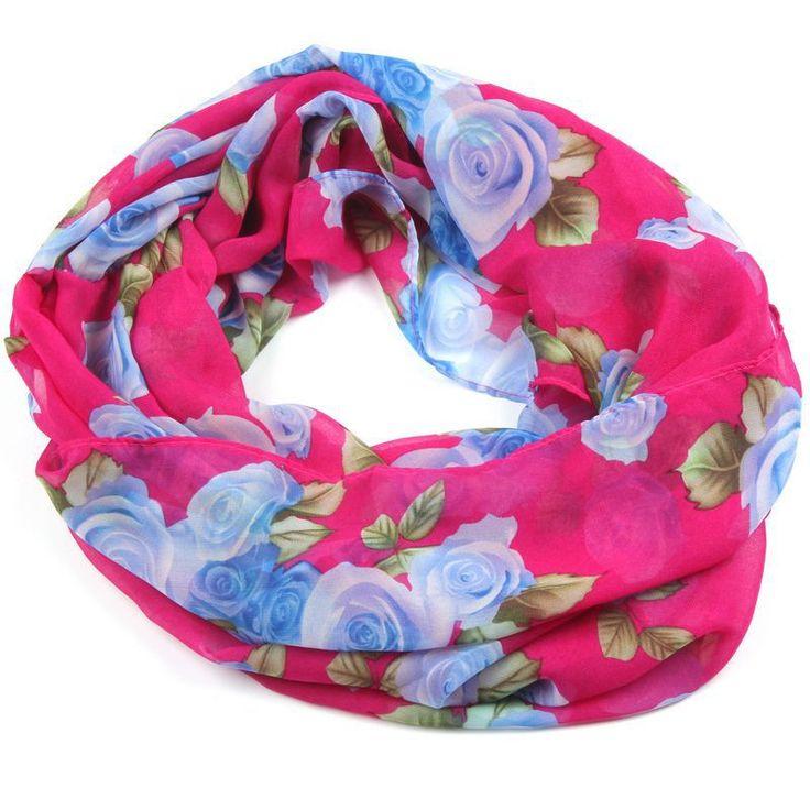 Rose Print Chiffon Infinity Scarf