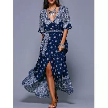 Bohemian Slit Print Long Flowing Wrap Dress - PURPLISH BLUE ONE SIZE(FIT SIZE XS TO M)