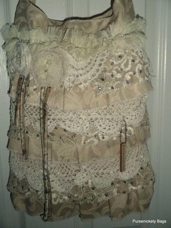 Цыганская сумка, большой потертый шик сумка, мягкий густой сметаны, кружева и салфетки