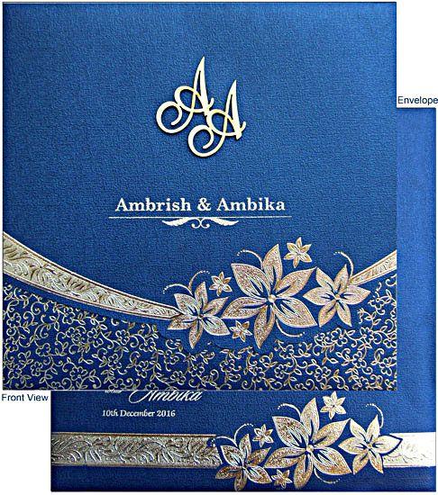 Foil Blue Color Designer Wedding Card