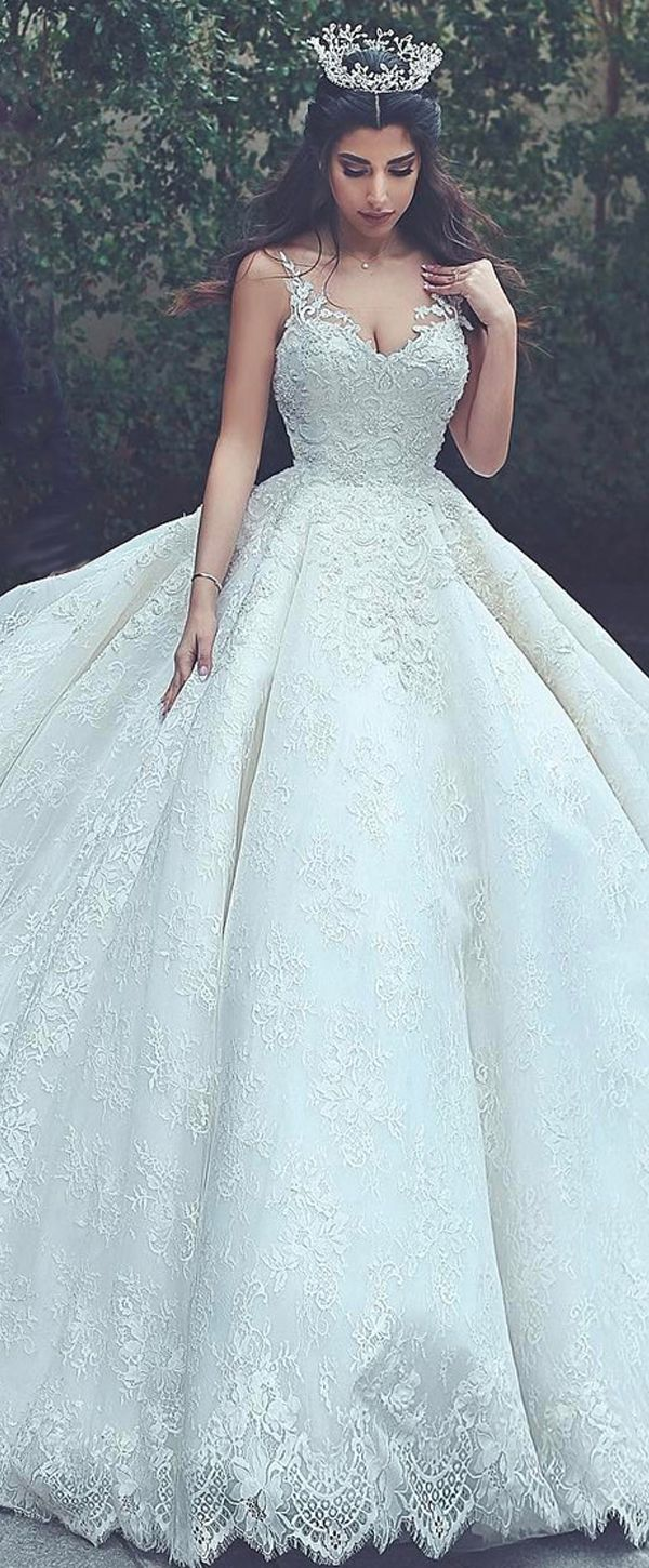 Junoesque Lace V-neck Neckline Ball Gown Wedding Dresses With Lace Appliques & Beadings