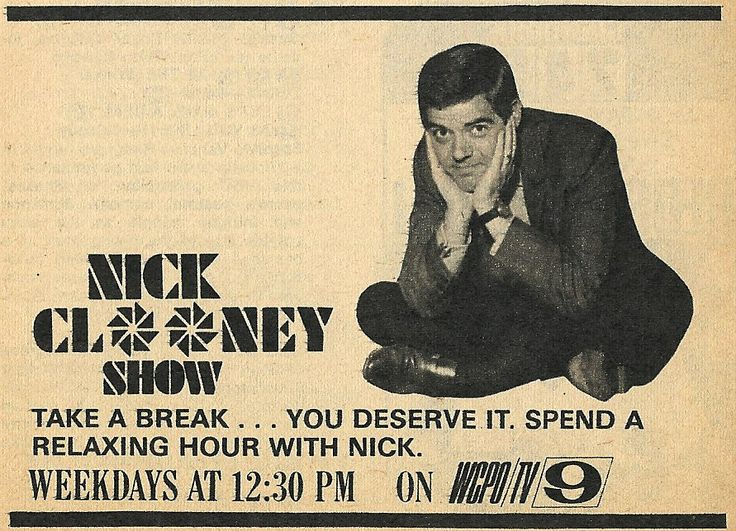 THE NICK CLOONEY SHOW Channel 9, Cincinnati. Nick Clooney's father, sister of singer Rosemary Clooney. (White Christmas)