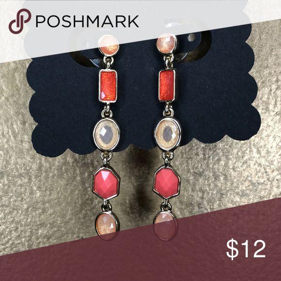 Orange chandelier earrings Brand new! Never worn Jewelry Earrings