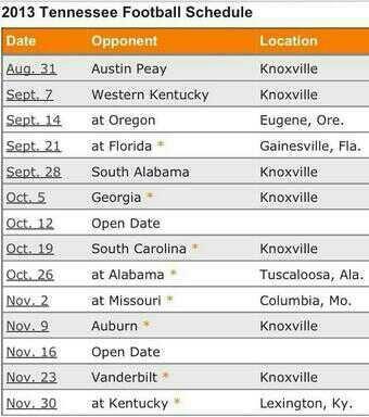 2013 Tennessee Football Schedule.  CAN'T WAIT!!!!! SOOOOO READY!!!!!