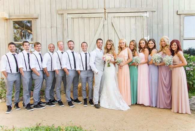 Absolutely love this and pretty much what I've been trying to find... Grey suits for the men, casual. Soft waves for the bride looking understated and pastel bridemaids in different colours