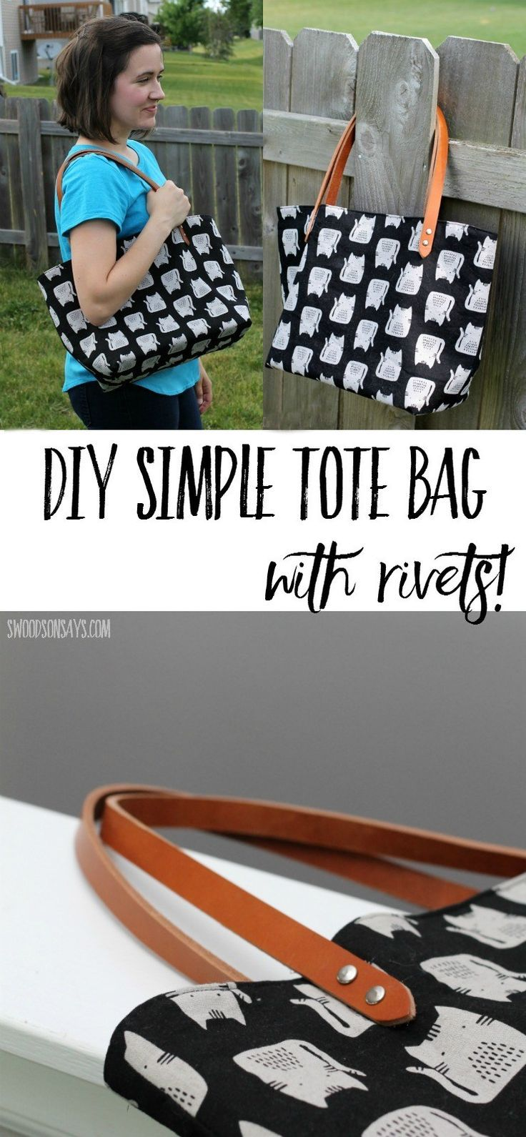 See this DIY canvas tote bag that I sewed up in an afternoon - it even has metal rivets! The pre-drilled leather handles make it super easy and look professional. Perfect tote bag to sew for beginners. Free pattern from Crosscut Sewing, linked in the post