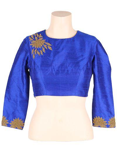 Blue raw silk Saree Blouse