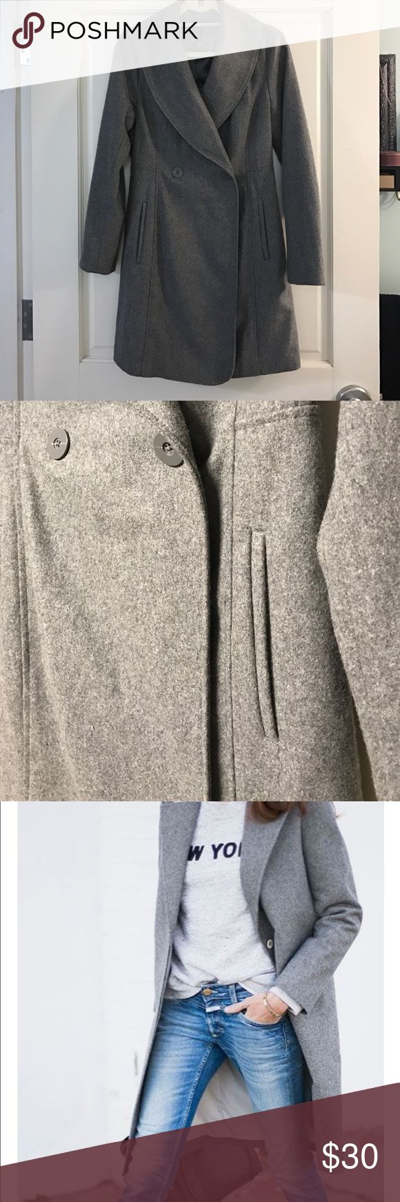 Perfect condition! Long gray wool Gap coat Beautiful long peacoat style trench coat. Perfect condition. Gray is lighter than shown in first picture. GAP Jackets & Coats