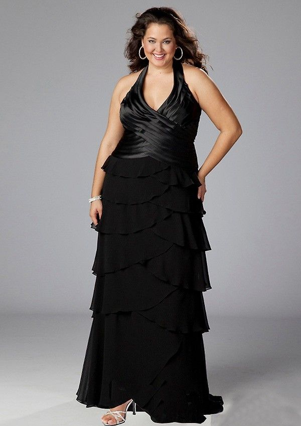 Black Sexy A-Line Sleeveless Floor-Length V-neck Chiffon Plus Size Bridesmaid Dress