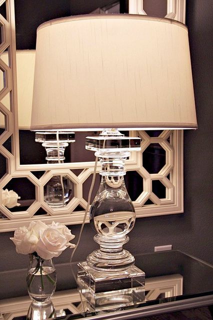 Crystal lamp from Z Gallerie and mirror from Ballard Designs