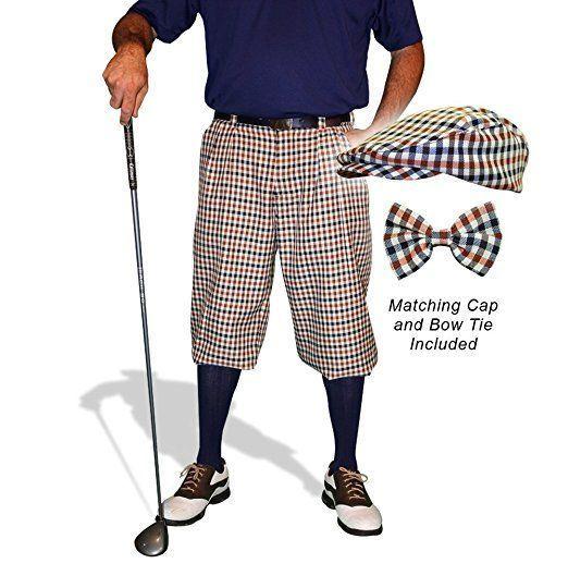 Men's Vintage Style Pants, Trousers, Jeans, Overalls Plaid Golf Knickers & Cap: Mens Par 5 - Saratoga $189.95 AT vintagedancer.com #GolfKnickers