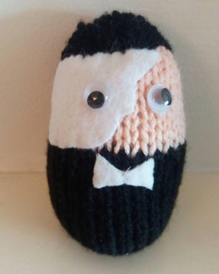 Knitted egg character, Phantom of the Omelette, Easter egg, Egg cosy by KwerkyKnits on Etsy