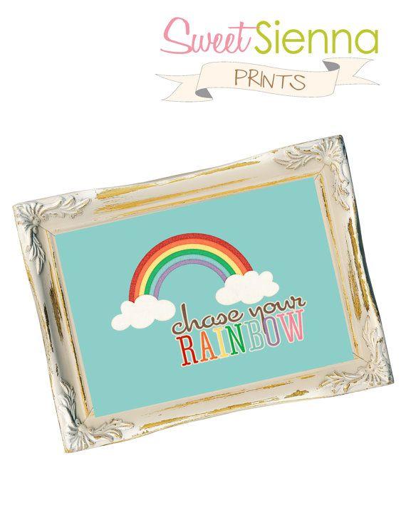 Aqua Chase your Rainbow Nursery decor baby by SweetSiennaPrints, $18.00