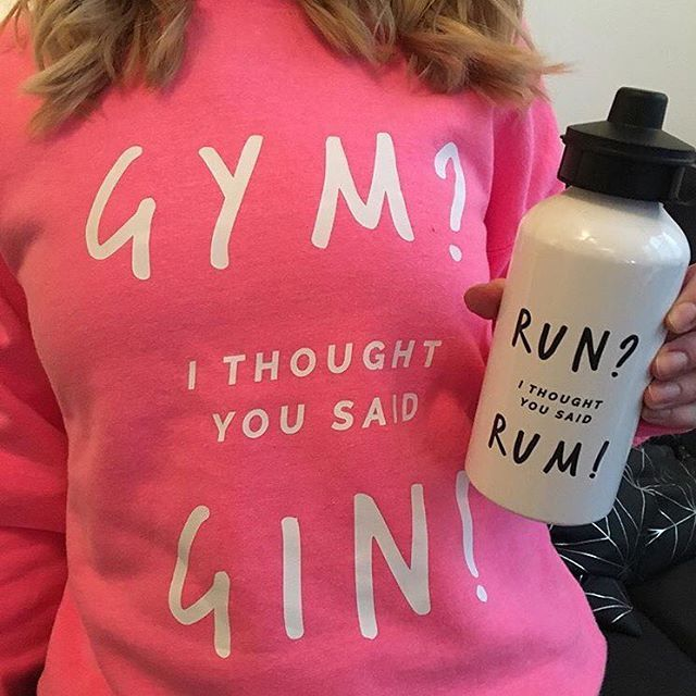 Hitting the gym on a Sunday? It's no secret that we prefer gin! And then there is rum... wait where were we?! #EllieEllie #personalisedgifts #personalised #present #giftideas #gift  #fun #cute #present  #presents #gymgin #activewear #exercise #runrum #waterbottle #gymgear #gymwear #sweatshirt #jumper #slogan #humour #funny #gymlife #gymhumour #gin #rum  #notonthehighstreet