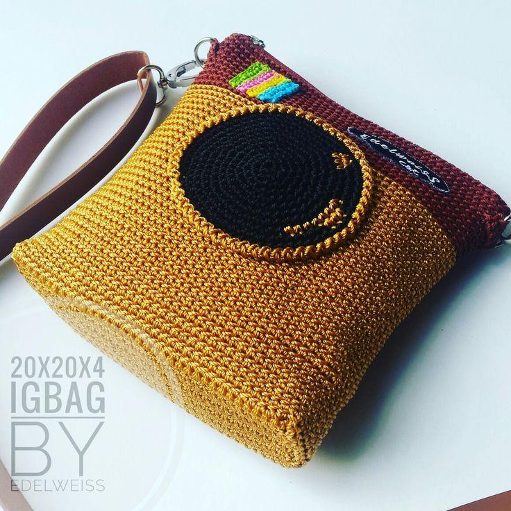 Camera bag. Instagram old logo. Crochet handmade.