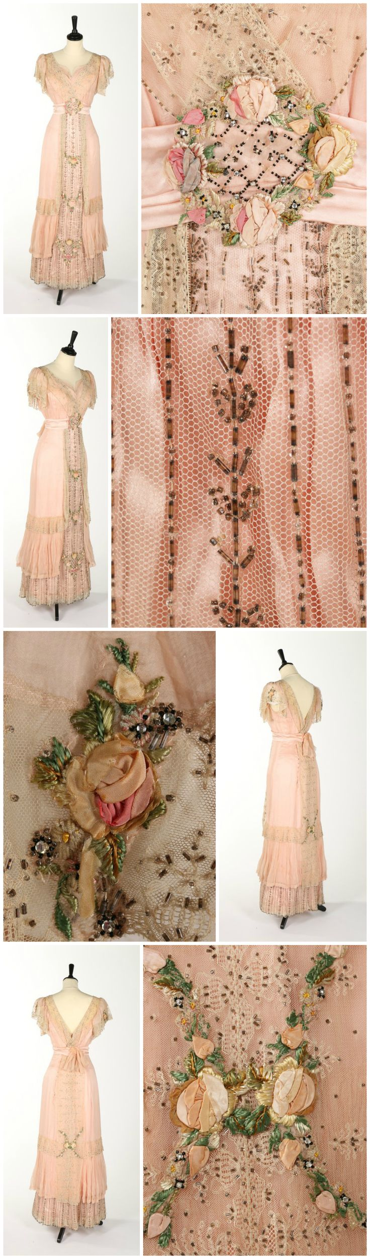 A Weeks of Paris pink chiffon, beaded and ribbon-worked evening dress, circa 1910. Kerry Taylor Auctions. CLICK THROUGH FOR BIGGER IMAGES.