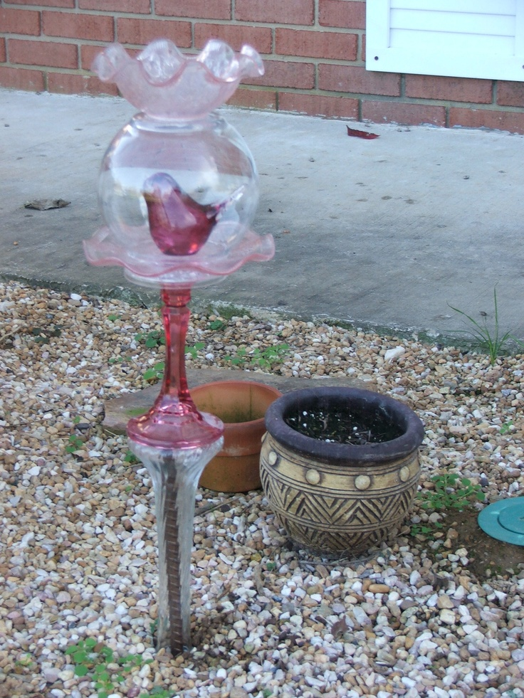 75 best recycled glass garden art images on pinterest for Recycled glass garden ornaments