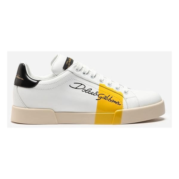 Dolce&Gabbana Sneakers in Varnished Tanned Calfskin ($745) ❤ liked on Polyvore featuring shoes, sneakers, white, dolce gabbana trainers, white sneakers, calfskin leather shoes, calfskin sneakers and dolce gabbana sneakers
